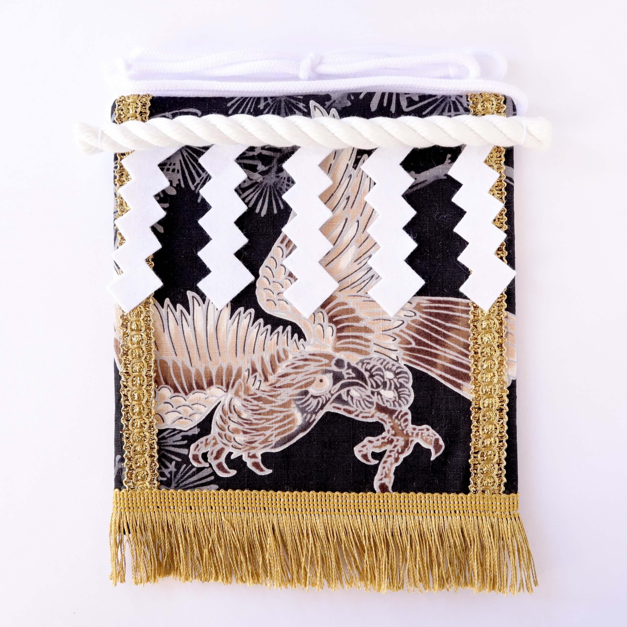 赤ちゃん化粧まわし「えびすこくん」鷹と松に鷹の羽紋・黒