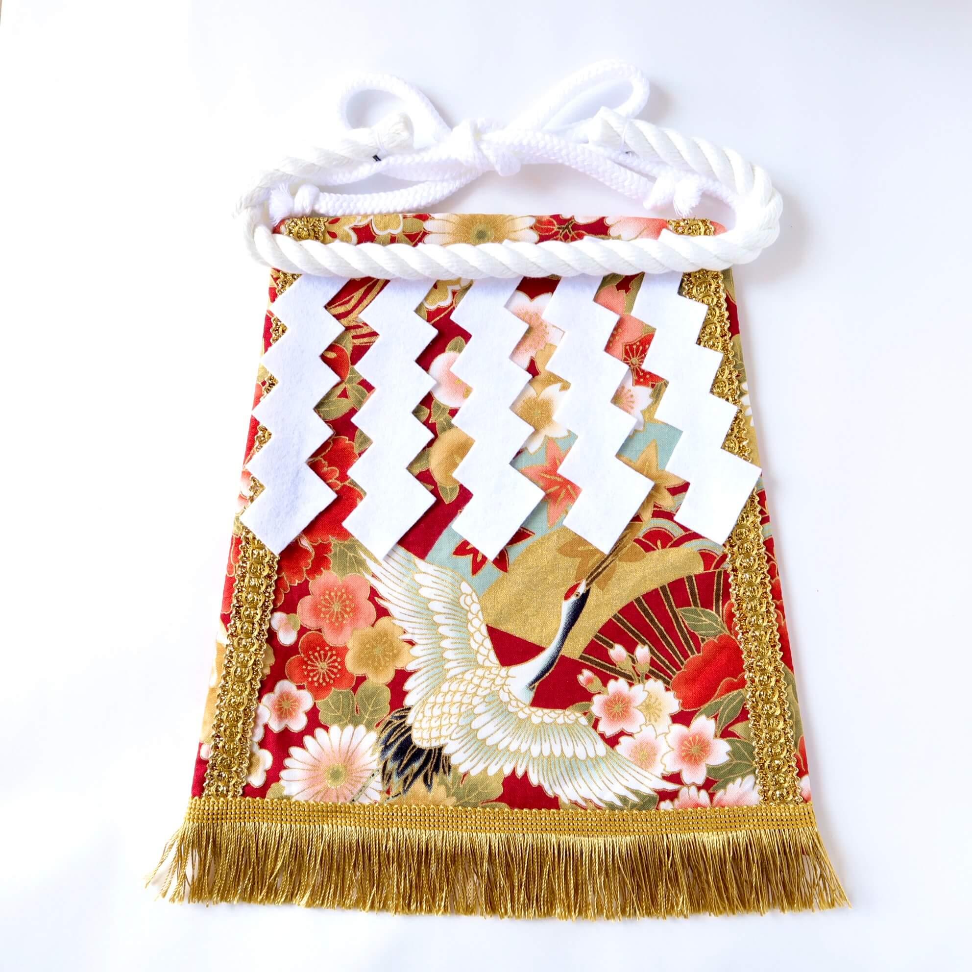 ワンちゃん化粧まわし・雅な花と扇と鶴・赤